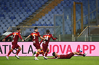 Football, Serie A: AS Roma -  FC Internazionale Milano, Olympic stadium, Rome, January 10, 2021. <br /> Roma's Gianluca Mancini (r) celebrates after scoring with his teammates  during the Italian Serie A football match between Roma and Inter at Rome's Olympic stadium, on January 10, 2021.  <br /> UPDATE IMAGES PRESS/Isabella Bonotto