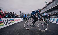 Jeremy Powers (USA) warming up<br /> <br /> Elite Men's Race<br /> UCI CX Worlds 2018<br /> Valkenburg - The Netherlands