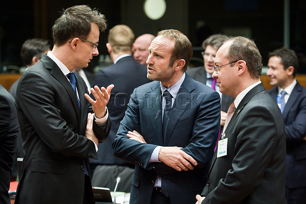 (L-R) Hungarian Foreign MinisterPeter Szijjarto, Denmark's Foreign Affairs Minister Martin Lidegaard and Romanian Foreign Minister Bogdan Aurescu  prior to the European Union Foreign Ministers Council at EU headquarters  in Brussels, Belgium on 29.01.2015 Federica Mogherini , EU High representative for foreign policy called extraordinary meeting on the situation in Ukraine after the attack on Marioupol.  by Wiktor Dabkowski