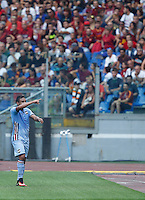 Calcio, Serie A: Roma vs Sampdoria. Roma, stadio Olimpico, 11 settembre 2016.<br /> Sampdoria's Luis Muriel celebrates after scoring during the Italian Serie A football match between Roma and Sampdoria at Rome's Olympic stadium, 11 September 2016. Roma won 3-2.<br /> UPDATE IMAGES PRESS/Isabella Bonotto
