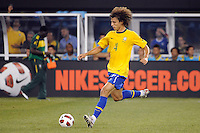 David Luiz (4) of Brazil. The men's national team of Brazil (BRA) defeated the United States (USA) 2-0 during an international friendly at the New Meadowlands Stadium in East Rutherford, NJ, on August 10, 2010.
