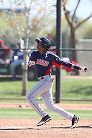 Junior Soto of the Cleveland Indians bats during a Minor League Spring Training Game against the Los Angeles Dodgers at the Los Angeles Dodgers Spring Training Complex on March 22, 2014 in Glendale, Arizona. (Larry Goren/Four Seam Images)