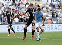 28th August 2021; Olympic Stadium, Rome, Italy; Serie A football, SS Lazio versus AC Spezia : Salva Ferrer of Spezia and Pedro Ledesma of Lazio