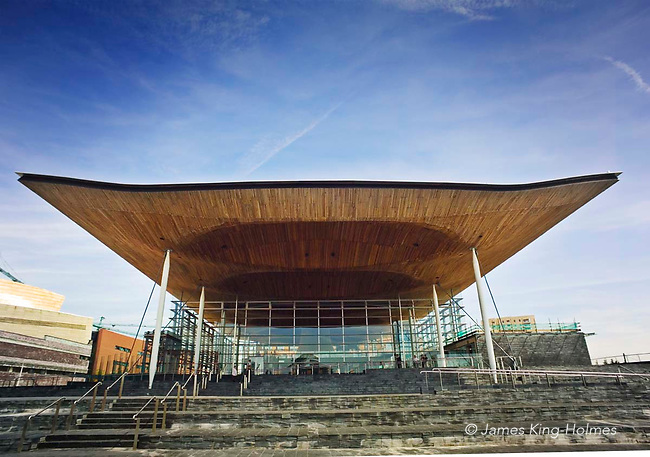 The canopy and façade of the National Assembly for Wales building on the Waterfront in Cardiff.