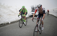Vegard Stake Laengen (NOR/IAM) up the snow-covered Colle dell'Agnello (2744m)<br /> <br /> stage 19: Pinerolo(IT) - Risoul(FR) 162km<br /> 99th Giro d'Italia 2016