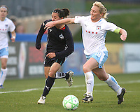 Lisa De Vanna (17) of the Washington Freedom gets hit by the arm of Frida Ostberg (18) of the Chicago Red Stars during a WPS match at Maryland Soccerplex on April 11 2009, in Boyd's, Maryland.  The game ended in a 1-1 tie.