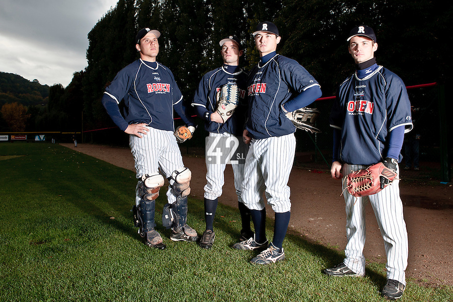23 October 2010: Boris Marche, Joris Bert, Kenji Hagiwara, Yohann Bret, are seen prior to Savigny 8-7 win (in 12 innings) over Rouen, during game 3 of the French championship finals, in Rouen, France.
