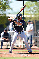 Seattle Mariners outfielder Alex Jackson (14) during an Instructional League game against the Cleveland Indians on October 1, 2014 at Goodyear Training Complex in Goodyear, Arizona.  (Mike Janes/Four Seam Images)