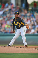 Salt Lake Bees starting pitcher Ivan Pineyro (29) delivers a pitch to the plate against the El Paso Chihuahuas at Smith's Ballpark on August 13, 2018 in Salt Lake City, Utah. Salt Lake defeated El Paso 4-3. (Stephen Smith/Four Seam Images)