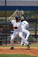 New York Yankees catcher Hemmanual Rosario (15) at bat during an Instructional League game against the Baltimore Orioles September 23, 2017 at the Yankees Minor League Complex in Tampa, Florida.  (Mike Janes/Four Seam Images)