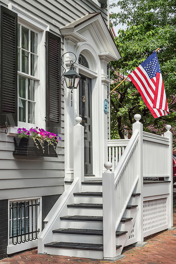 Colonial house with American flag, Annapolis, Maryland, USA