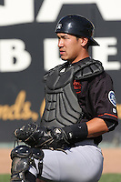 Carlton Tanabe (24) of the Bakersfield Blaze before a game against the Rancho Cucamonga Quakes at LoanMart Field on June 1, 2015 in Rancho Cucamonga, California. Rancho Cucamonga defeated Bakersfield, 5-2. (Larry Goren/Four Seam Images)