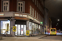 An ambulance receives a patient in the streets. <br /> <br /> Like most capitals, Oslo is usually busy on a Saturday night. But on the first weekend after Norwegian authorites  introduced measures to combat the Coronavirus (COVID-19) the city was almost deserted. <br /> <br /> Restriction on public gatherings, closure of schhols, new rules for those serving food and drinks, and fear of further spread of the virus compelled most bars and restaurants to close. Between 9 and midnight, normally a thriving time in the city centre, hardly any people ventures out. <br /> <br /> ©Fredrik Naumann/Felix Features