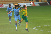 9th January 2021; Carrow Road, Norwich, Norfolk, England, English FA Cup Football, Norwich versus Coventry City; Matthew James of Coventry City competes for the ball with Jacob Lungi Sorensen of Norwich City