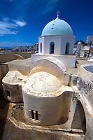 Blue domed byzantine church of Megalohori, Santorini, Greece