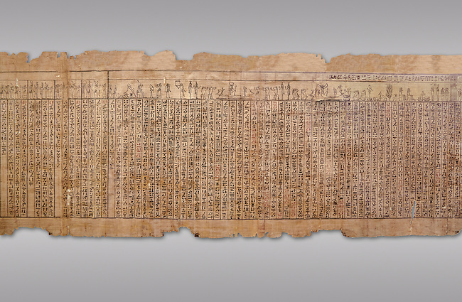Ancient Egyptian Book of the Dead papyrus - Spell 17 about the God Atum, Iufankh's Book of the Dead, Ptolemaic period (332-30BC).Turin Egyptian Museum. Grey Background<br /> <br /> the spell is one of the ongest in the Book of the Dead and one of its most complex frequently used in many other Books of the Dead. It is about the nature of the creator God Atum and is meant to make sure the deceased is capable of demonstrating his of her knowledge of religious secrets<br /> <br /> The translation of  Iuefankh's Book of the Dead papyrus by Richard Lepsius marked a truning point in the studies of ancient Egyptian funereal studies.