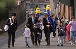 Hungerford Hocktide, Hungerford, Berkshire England  The Tuttimen,Orange Man with sack over shoulder. Second Tuesday after Easter.  1980s