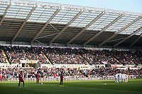 Saturday 2nd March 2013<br /> Pictured: Swansea players huddle before kick off.<br /> Re: Barclays Premier Leaguel, Swansea  v Newcastle at the Liberty Stadium in Swansea.