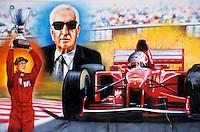 Europe/Italie/Emilie-Romagne/Maranello : Enseigne d'une boutique de souvenirs (Enzo Ferrari fonda sa propre écurie de course automobile et installa son usine à Maranello)
