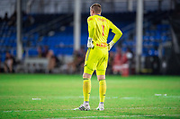 LAKE BUENA VISTA, FL - JULY 22: David Jensen #1 of the New York Red Bulls waits for the ball during a game between New York Red Bulls and FC Cincinnati at Wide World of Sports on July 22, 2020 in Lake Buena Vista, Florida.