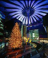 Germany, Deutschland, Berlin, Berlin Mitte, Potsdamer Platz, Sony Center, Christmas tree in the Sony Centre