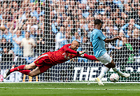 Raheem Sterling of Manchester City scores his 2nd goal during the FA CUP FINAL match between Manchester City and Watford at Wembley Stadium, London, England on 18 May 2019. Photo by Andy Rowland.