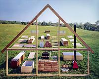 Jens Risom's Prefab House materials on site, Block Island, 1967. Photographer John G. Zimmerman.