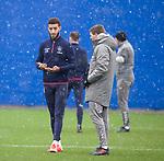 28.02.2020 Rangers training: Connor Goldson and Steven Gerrard
