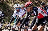 Philippe Gilbert (BEL/Lotto-Soudal) & World Champion Julian Alaphilippe (FRA/Deceuninck - QuickStep) catching up mid-race<br /> <br /> 107th Liège-Bastogne-Liège 2021 (1.UWT)<br /> 1 day race from Liège to Liège (259km)<br /> <br /> ©kramon