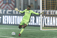 FOXBOROUGH, MA - SEPTEMBER 02: Sean Johnson #1 of New York City FC clears the ball during a game between New York City FC and New England Revolution at Gillette Stadium on September 02, 2020 in Foxborough, Massachusetts.