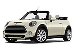 Stock pictures of low aggressive front three quarter view of a 2019 Mini Cooper S Signature 2 Door Convertible