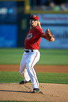 Harrisburg Senators pitcher Dakota Bacus (19) delivers a pitch during a game against the New Hampshire Fisher Cats on July 21, 2015 at Metro Bank Park in Harrisburg, Pennsylvania.  New Hampshire defeated Harrisburg 7-1.  (Mike Janes/Four Seam Images)