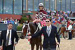 April 10, 2015: Jockey John Velazquez aboard #2 Untapable after winning the Apple Blossom Handicap at Oaklawn Park in Hot Springs, AR. Justin Manning/ESW/CSM