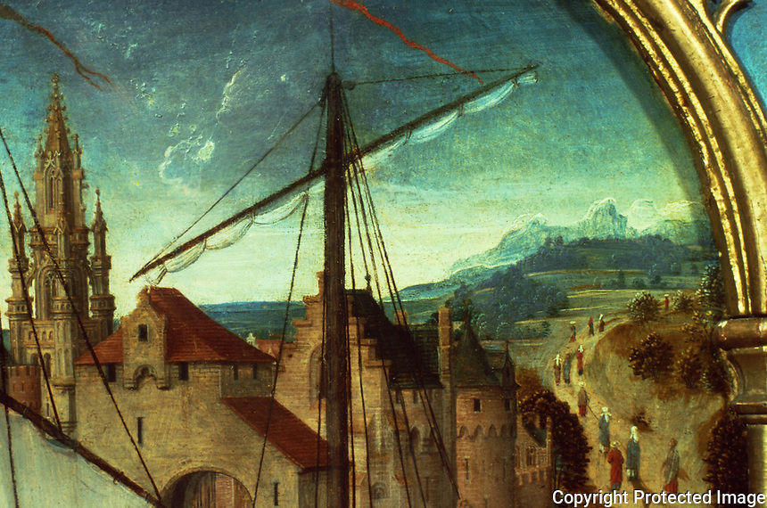 Paintings:  Hans Memling--Ursula shrine--Debarcation at Basel, detail.  Reference only.