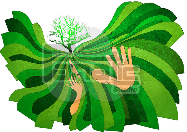 Illustrative representation conveying the message Save soil