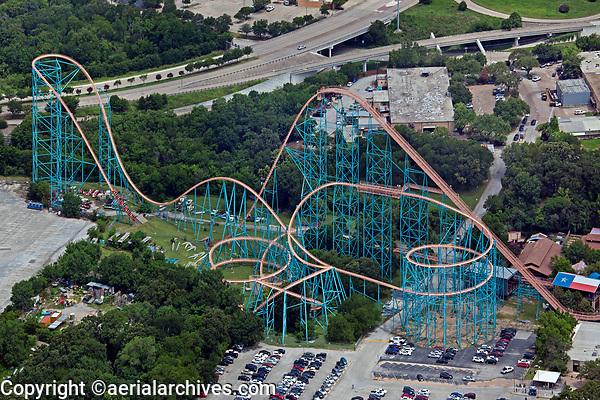 aerial photograph of the roller coaster at Six Flags Over Texas, Arlington, Texas