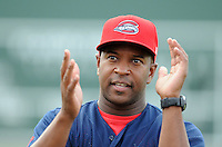 Manager Billy McMillon (51) of the Greenville Drive talks to his team before a game against the Asheville Tourists on Aug. 29, 2010, at Fluor Field at the West End in Greenville, S.C. Photo by: Tom Priddy/Four Seam Images