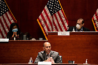 """United States Representative Hakeem Jeffries (Democrat of New York) speaks during a US House Judiciary committee hearing on """"Oversight of the Department of Justice: Political Interference and Threats to Prosecutorial Independence"""" on Capitol Hill in Washington DC on June 24th, 2020.<br /> Credit: Anna Moneymaker / Pool via CNP/AdMedia"""