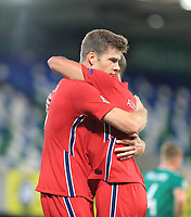 7th September 2020; Windsor Park, Belfast, County Antrim, Northern Ireland; EUFA Nations League, Group B, Northern Ireland versus Norway; Norway's Alexander Sorloth celebrates scoring in the 19th minute for 1-3