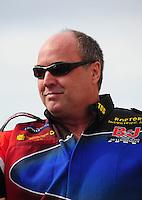 Feb. 19, 2012; Chandler, AZ, USA; NHRA top fuel dragster driver Mike Strasburg during the Arizona Nationals at Firebird International Raceway. Mandatory Credit: Mark J. Rebilas-