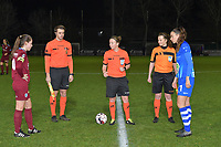 referee Lois Otte and assistant referees Joline Delcroix and Michele Seeldraeyers with Silke Vanwynsberghe (21) of AA Gent and Sien Vandersanden (10) of KRC Genk pictured during a female soccer game between  AA Gent Ladies and Racing Genk on the 12 th matchday of the 2020 - 2021 season of Belgian Scooore Womens Super League , friday 29 th of January 2021  in Oostakker , Belgium . PHOTO SPORTPIX.BE | SPP | DIRK VUYLSTEKE