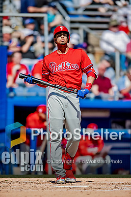 6 March 2019: Philadelphia Phillies designated hitter Aaron Altherr at bat during a Spring Training game against the Toronto Blue Jays at Dunedin Stadium in Dunedin, Florida. The Blue Jays defeated the Phillies 9-7 in Grapefruit League play. Mandatory Credit: Ed Wolfstein Photo *** RAW (NEF) Image File Available ***