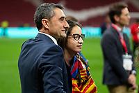 FC Barcelona coach Ernesto Valverde celebrating the championship during King's Cup Finals match between Sevilla FC and FC Barcelona at Wanda Metropolitano in Madrid, Spain. April 21, 2018. (ALTERPHOTOS/Borja B.Hojas)