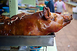 Roasted Pigs Head, Cotacachi City & Market