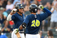 Center fielder Desmond Lindsay (2) of the Columbia Fireflies is greeted by Ali Sanchez after scoring a run in a game against the Charleston RiverDogs on Friday, June 9, 2017, at Spirit Communications Park in Columbia, South Carolina. Columbia won, 3-1. (Tom Priddy/Four Seam Images)