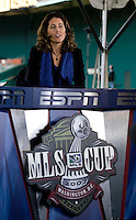 ESPN announcer Julie Foudy. The Houston Dynamo defeated the New England Revolution 2-1 in the finals of the MLS Cup at RFK Memorial Stadium in Washington, D. C., on November 18, 2007.