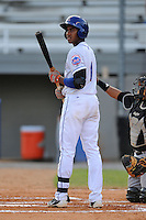 Kingsport Mets shortstop Amed Rosario #1 looks for the signals during a game against the Bristol White Sox at Hunter Wright Stadium on August 15, 2013 in Kingsport, Tennessee. The White Sox won the game 4-2. (Tony Farlow/Four Seam Images)