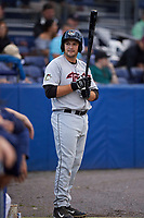 Tri-City ValleyCats first baseman Jake Adams (48) on deck during a game against the Batavia Muckdogs on July 14, 2017 at Dwyer Stadium in Batavia, New York.  Batavia defeated Tri-City 8-4.  (Mike Janes/Four Seam Images)