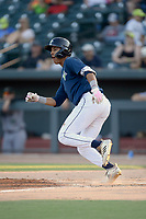 Third baseman Mark Vientos (13) of the Columbia Fireflies runs out a batted ball in a game against the Augusta GreenJackets on Saturday, June 1, 2019, at Segra Park in Columbia, South Carolina. Columbia won, 3-2. (Tom Priddy/Four Seam Images)