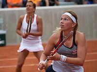 Paris, France, 26 June, 2016, Tennis, Roland Garros,  Doubles: Michaella Krajicek (NED) (R) with her doubles partner Barbora Strycova<br /> Photo: Henk Koster/tennisimages.com